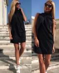 Черна рокля с преплитане